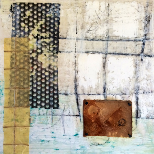 """Encaustic and mixed media painting on 12""""x12"""" oak panel."""