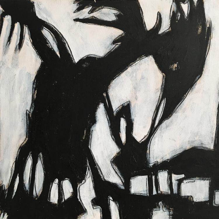 "acrylic painting on cradled wood panel - $200  2017  12""x12"""