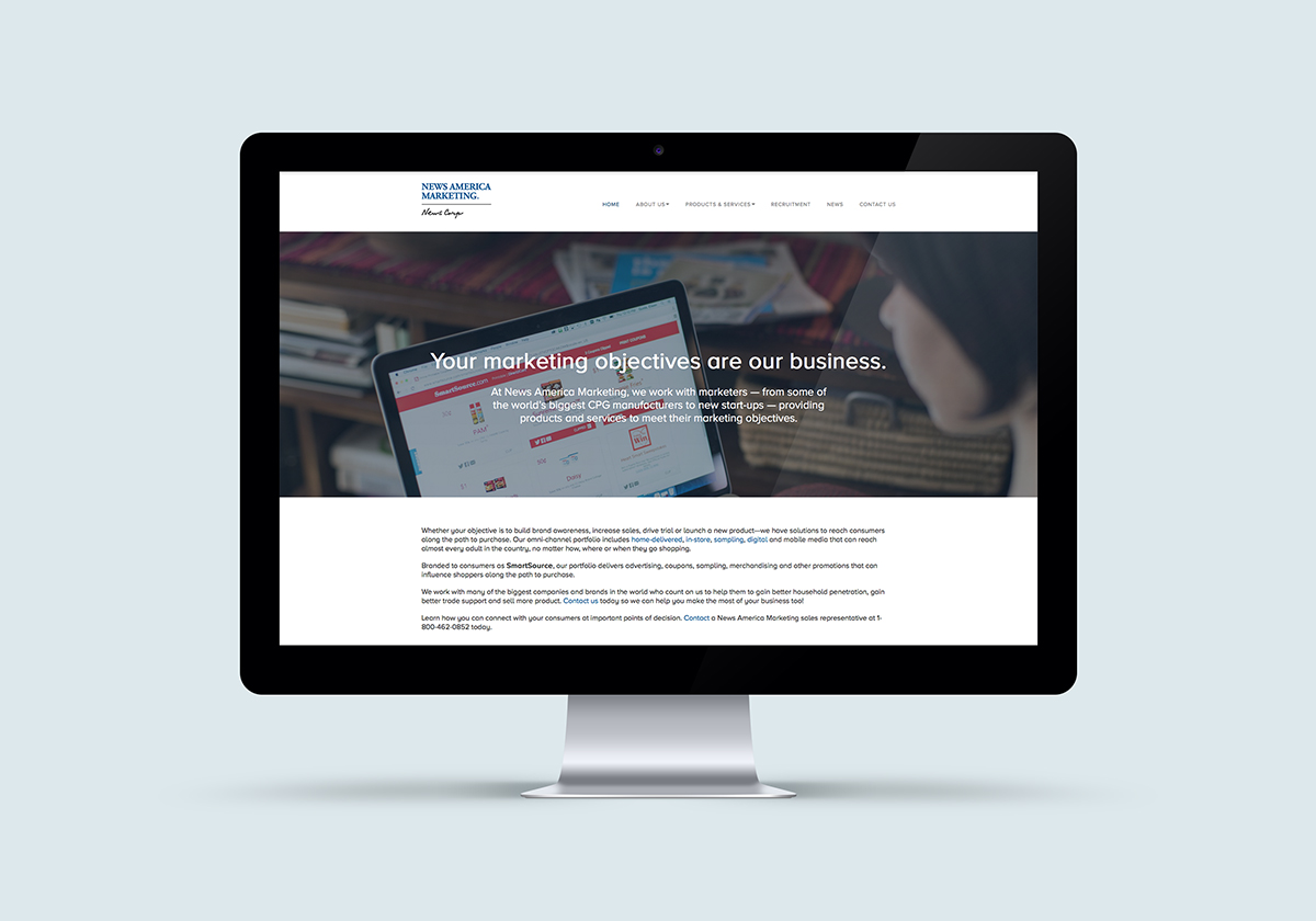 Our most recent project for News America was designing and providing web standards for their new corporate website (click image to view larger).