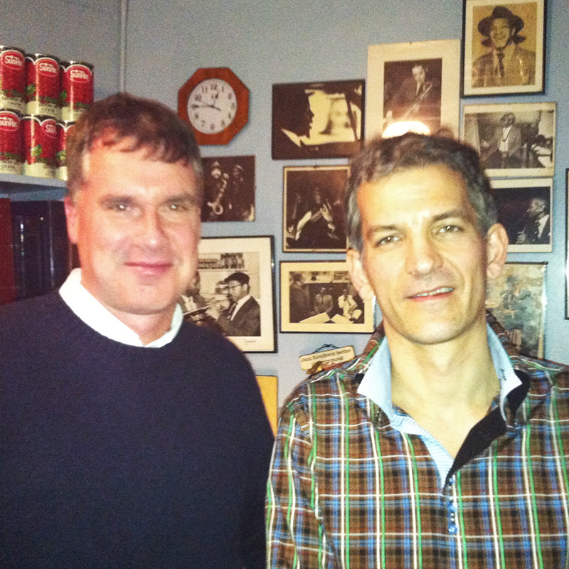 Michael DeMartin with Brad Mehldau backstage at the Village Vanguard, NYC