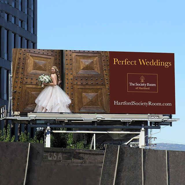 Our designs can range from a half-inch email signature to a 48-foot wide billboard. Here's our billboard design for The Society Room of Hartford, one of Connecticut's top wedding venues. #branding #logodesign #graphicdesign #digitalmarketing #billboard #hartfordct #fairfieldct @thesocietyroomofhartford