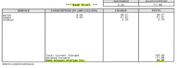 No mention of an additional $2.99 service charge anywhere on this bill...Instead it looked like my bank account was being drafted with no additional charge just like it always had been