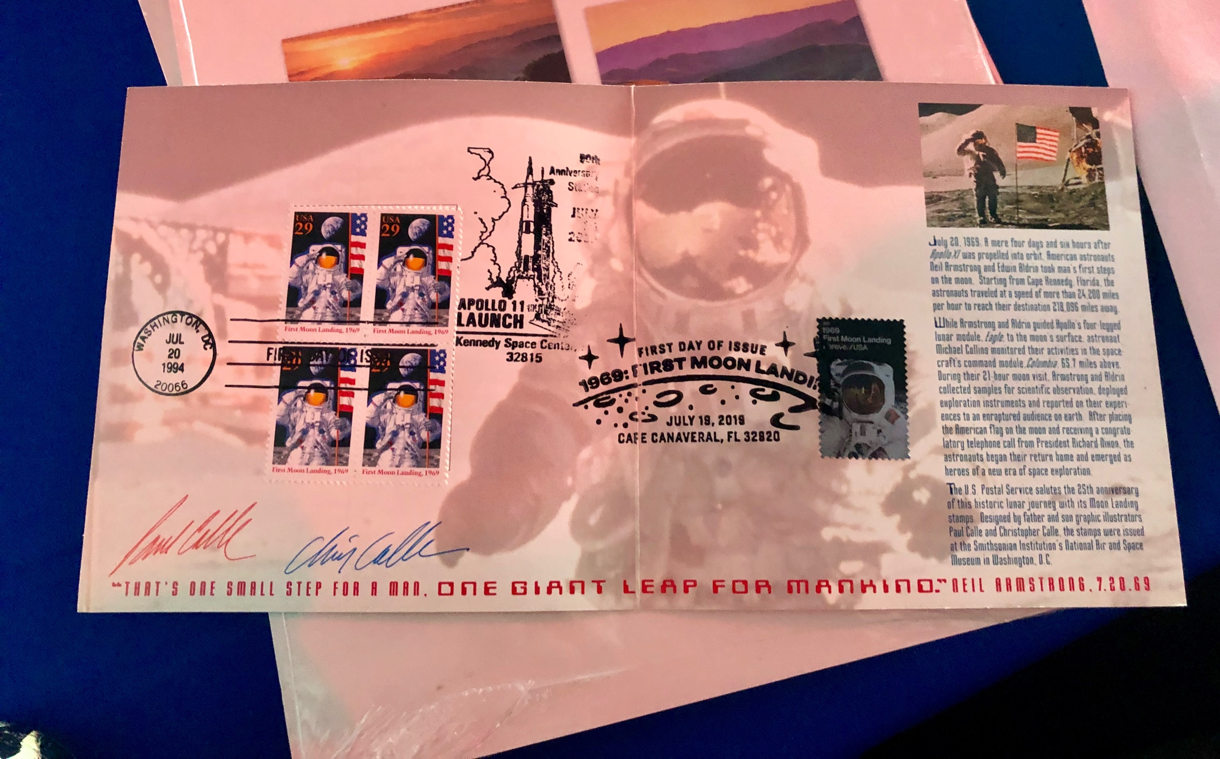 I was able to add the 50th anniversary Apollo stamp to my signed and 1st day issued 25th anniversary stamps!