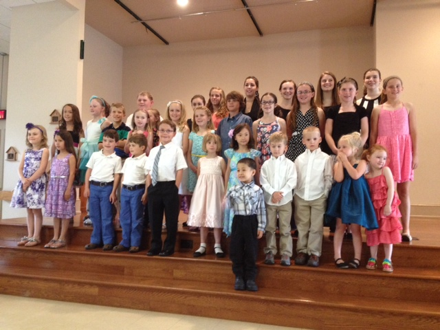 These are Ms. Trish's young studio recital performers. Students who perform in the annual recital span from Music for Little Mozarts class piano to private piano students to adults who take vocal coaching.