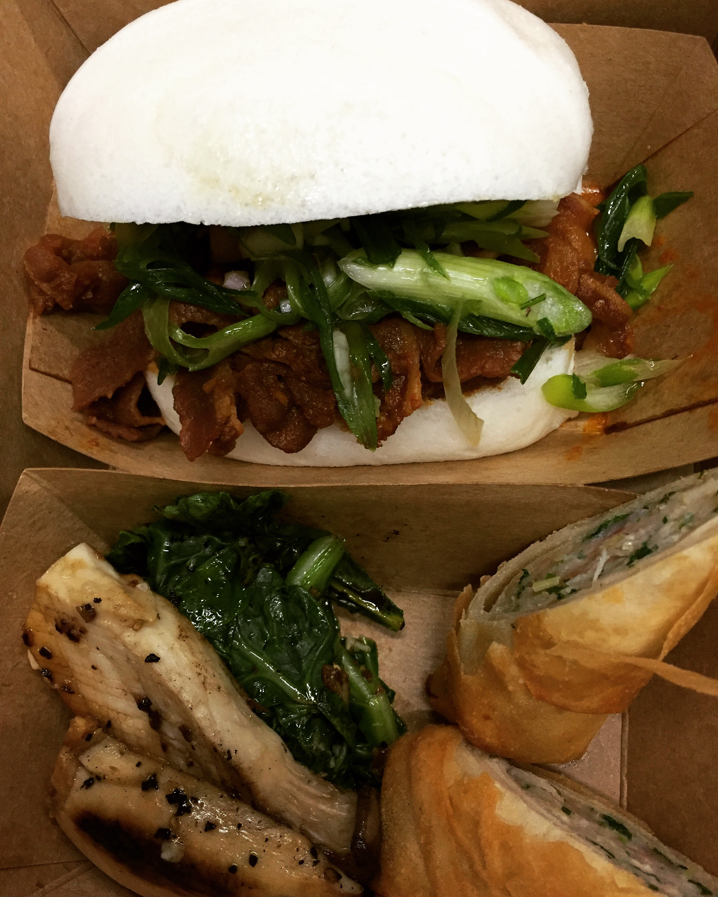 Kimchi Pork Belly Bun, Lumpia and Grilled Mushrooms