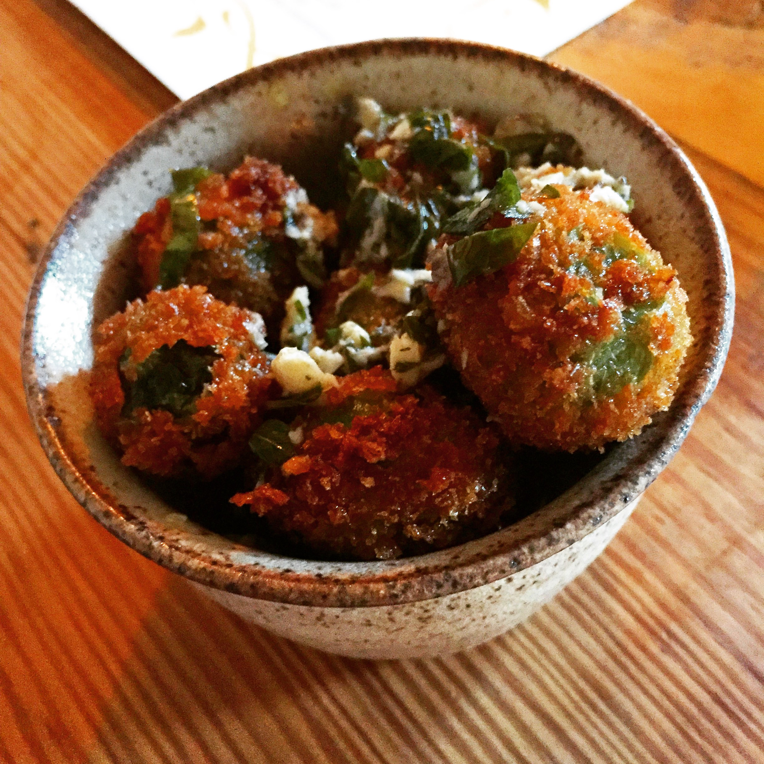 Crispy olives with N'duja and boquerones