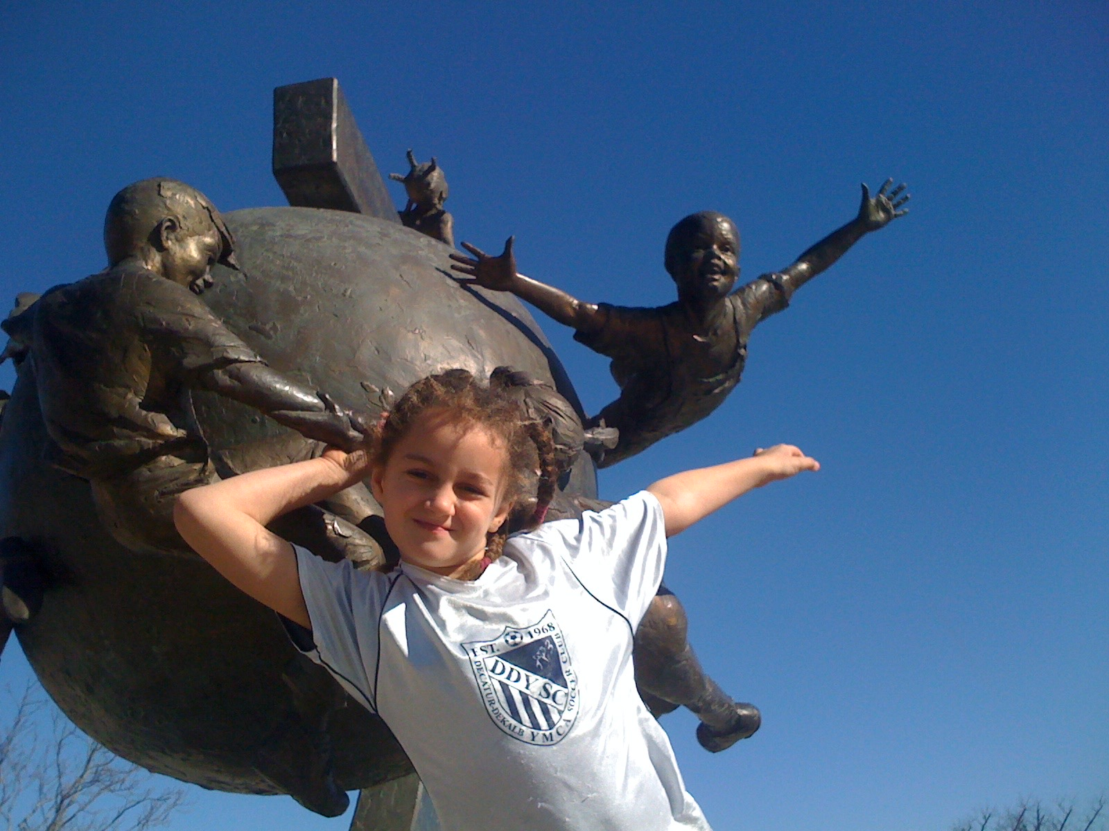 Grace, seven years old at the sculpture honoring Mayor Elizabeth Wilson. (Used with Grace's permission)