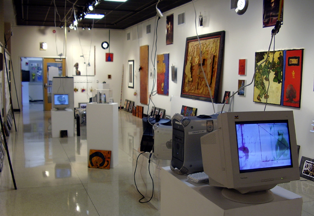 """Installation view of """"A Prayer for Clean Water (Phase 2)"""" at St. Edward's University Art Gallery in Austin (2005)"""