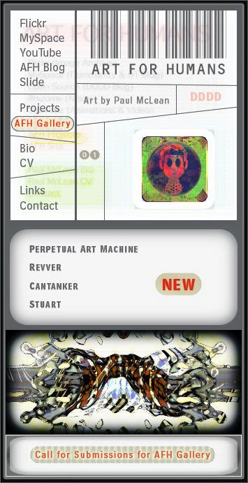 Art for Humans navigation interface, ca. 2006