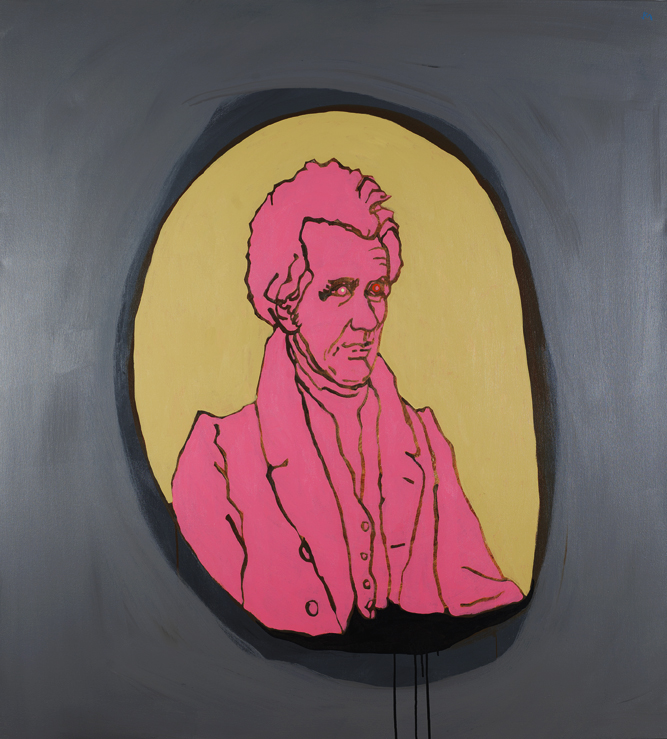 "Bazooka Joe Pink Old Hick / 55"" x 50"" / Acrylic and Ink on Canvas / 2014"