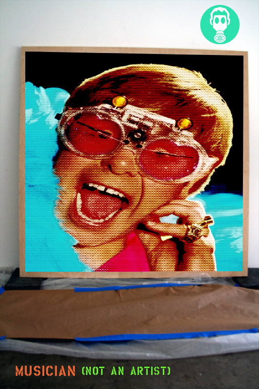 """""""SIR ELTON JOHN: NOT AN ARTIST (He is a musician)"""" - virtual content enhancement; digital image (P-shopped jpeg) sampling found/source material, integrated with studio documentation, + text, exhibited in blog format; for AFH NOT-ARTISTS tumblr, posted February 22nd, 2010. [Click-thru to see in """"original"""" context]"""