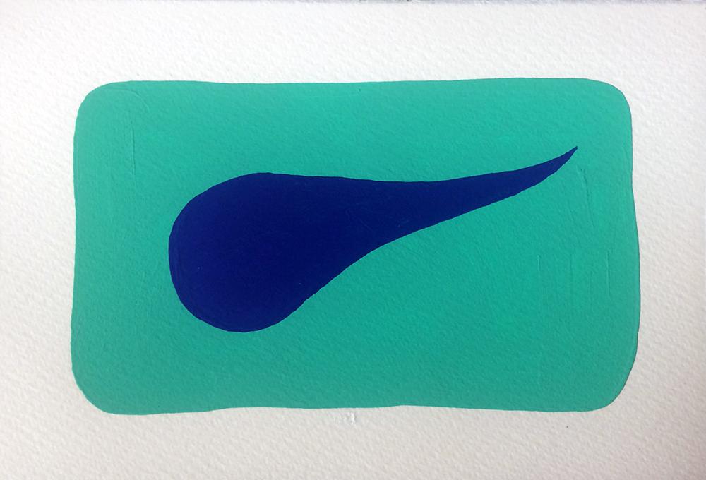 """AQUA"" [Series 1, vinyl on archival paper, 5"" x 7"" (2018)]"