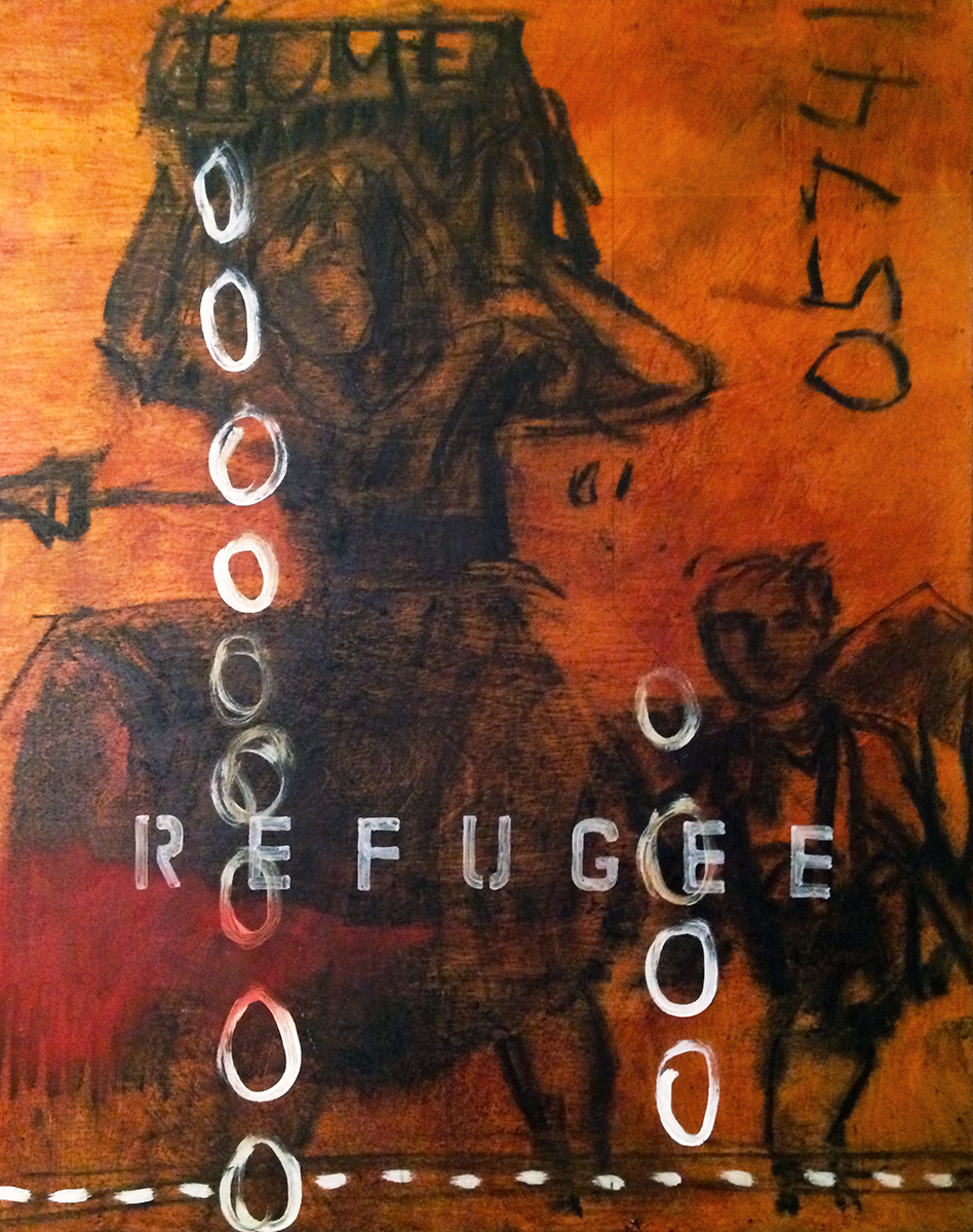 """REFUGEE"" Charcoal, Acrylic (Quin. Red/Gold) on Board 17"" x 13.5"" 2002 $1200  One of the ""Century of War"" paintings, only exhibited at Elena Graves' Brentwood Manse in a private home show in (I think) 2002."