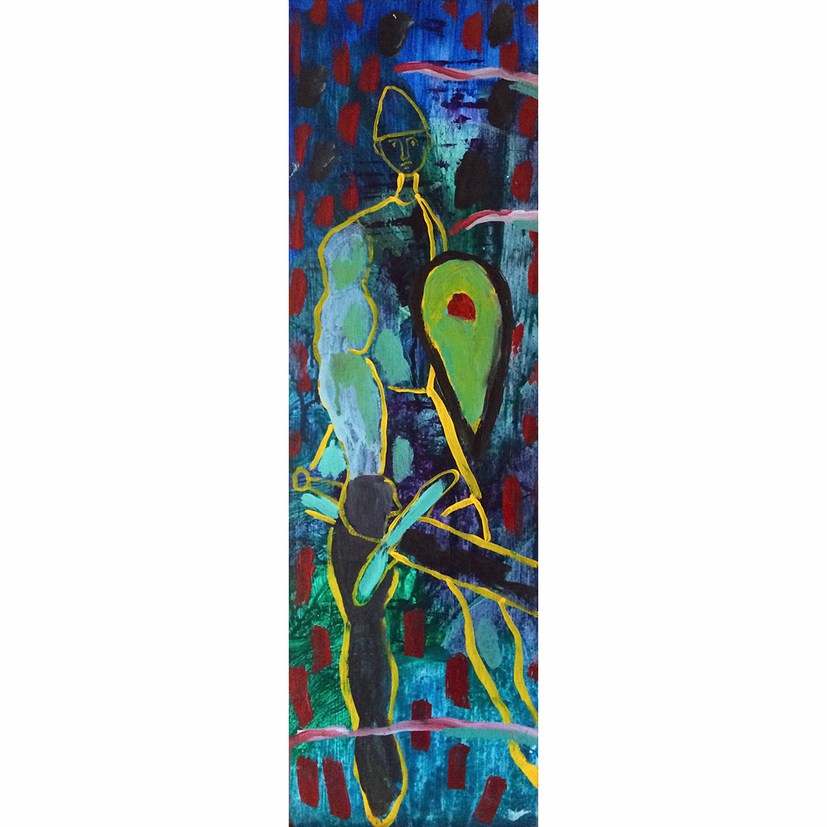 """MacLean Warrior"" Acrylic on Wood  24"" x 7"" 1995 $850  One of the Headstone Series, inspired by the carved capstones of clan burial sites in Scotland on Iona and elsewhere in the Highlands and Islands. This piece initially was exhibited in ""Where My Feet Stick to the Ground"" in Nashville at the Peanut Gallery."