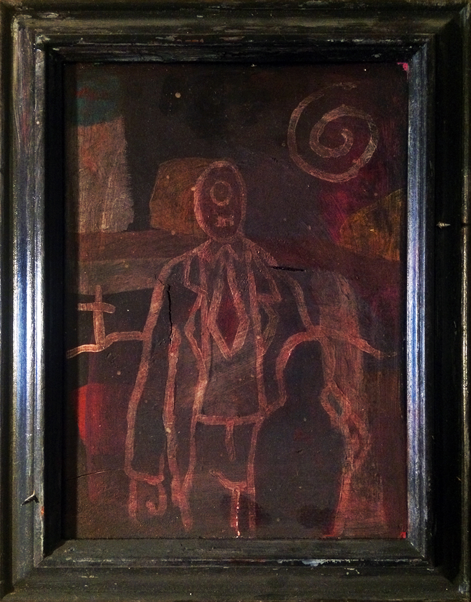 """Abstraction Forms Thought  #4 "" [Written Word/Rarefied Air] Acrylic and Ink on Wood (Framed) 14"" x 11"" 1995 $1600  This painting of Dim Tim, here a Cyclops in a business suit posing with his absent son, was created in 1995. The ink finish was added in 1999, when the piece was included in ""Sirens + Conflagrations"" at the Frist contemporary art installation spaces (stables) at Cheekwood Museum in Nashville."