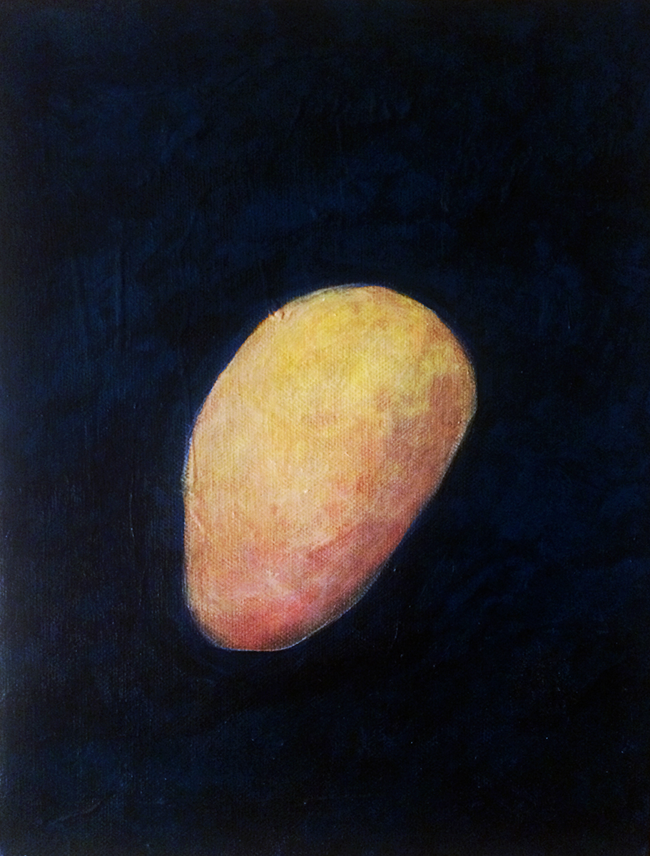 """Stone"" Acrylic on Canvas 12"" x 9"" 2004 $950  ""Stone"" was painted at Morris Graves' studio in Loleta, CA, during my residency. I worked from still life arrangements routinely then. ""Stone"" was exhibited in ""Homage,"" at the Eureka City Hall art space."