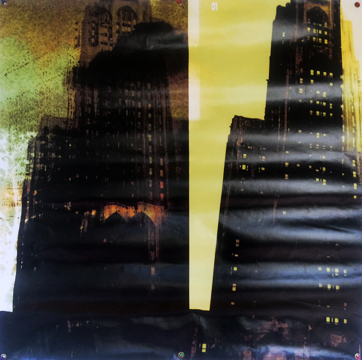 """Two Towers"" Digital Print on Poly Material, Grommets 48"" x 48"" 2001 $2800  The photo data for ""Two Towers"" is a circa 1984 pic of the Cathedral of Learning in Pittsburgh. This image is post-9/11 and the reference is direct, even if the actual chronology is blurry. ""Two Towers"" was originally exhibited at Polifilo (Nashville), in Culture01. *The wrinkles in the print are easily remedied."