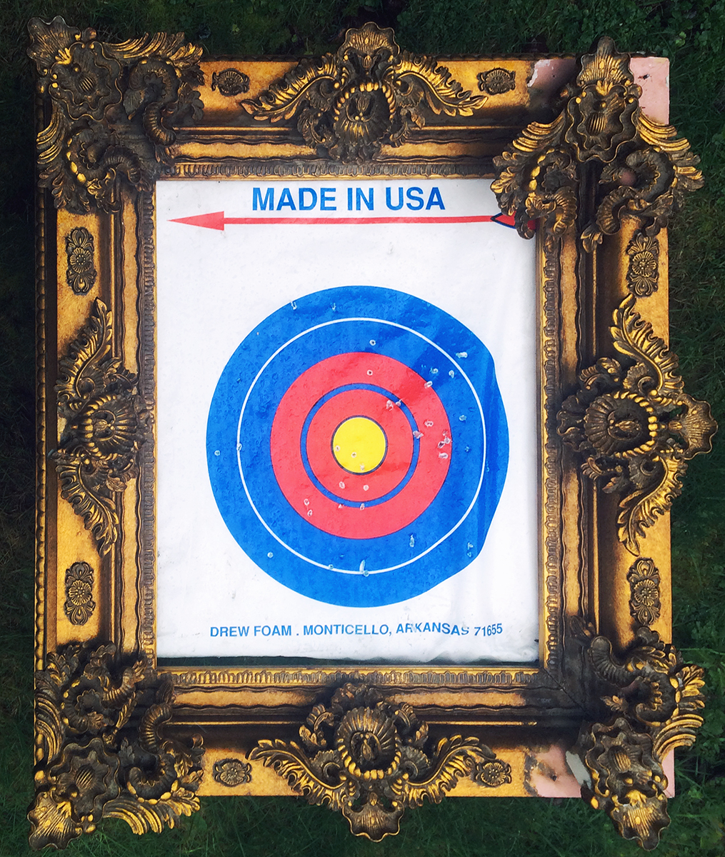 """Made in USA"" Archery Target and Frame 36"" x 39"" x 16"" 2019 $3500  I cannot recall where and when I picked up the enormous gauche frames, but they have been used in AFH exhibits since at least 2005. The used archery targets are a new find."