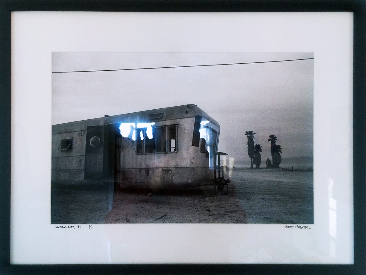 "Geoff Cordner ""Salton City  #1 "" [Edition, 1/25] Photographic print (framed) 19"" x 25"" 2007 NFS  Photographer Geoff Cordner contributed ""Salton City"" in the AFHGC group exhibit ""Buster."" Geoff also marvelously documented the gallery and some of the projects, like Michael Brewster's performance, ""Audition."" We printed ""Salton City"" in-house.  For me, Geoff was then and continues to be a powerful visionary, an inspiration, whom I respect tremendously as a person and master of his medium. Nowadays, Geoff devotes much of his time and energy to long-distance running/racing and other demanding activities. An altogether extreme, sensitive, fierce and unique individual. *Note the reflections on the frame glass are not part of the print/art."