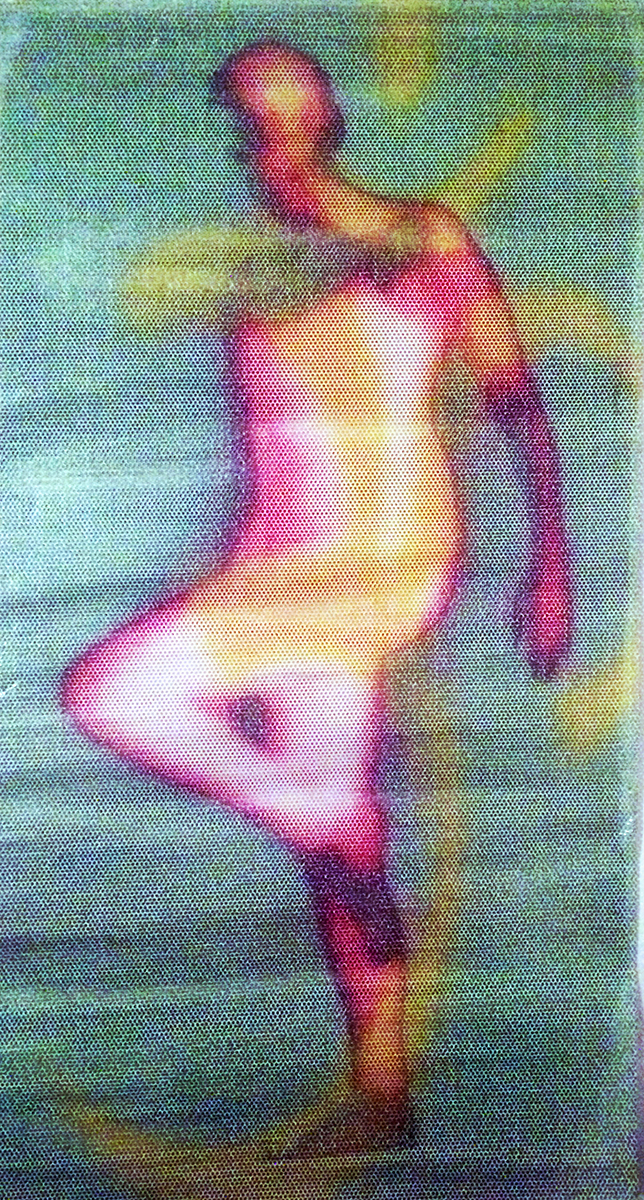 """Ohm"" Digital Print on Perforated Adhesive Vinyl [A/P] 24"" x 12"" 2001 $1800  ""Ohm"" features Diane Avice du Buisson who was my yoga teacher then and still is today. Diane performed in the 01 production ""A Cold Empty Feelin'"" at ruby green Contemporary Art Foundation, hosted my exhibition ""Jewels of the Nagas"" at her shala Yoga Source and provided photographic material for a series of digital prints on vinyl, one of which was displayed at YS. The substrate for this experimental print was provided by one of the Nashville printers I did BETA testing for, either Chromatics or another one who's name I can't recall at the moment."