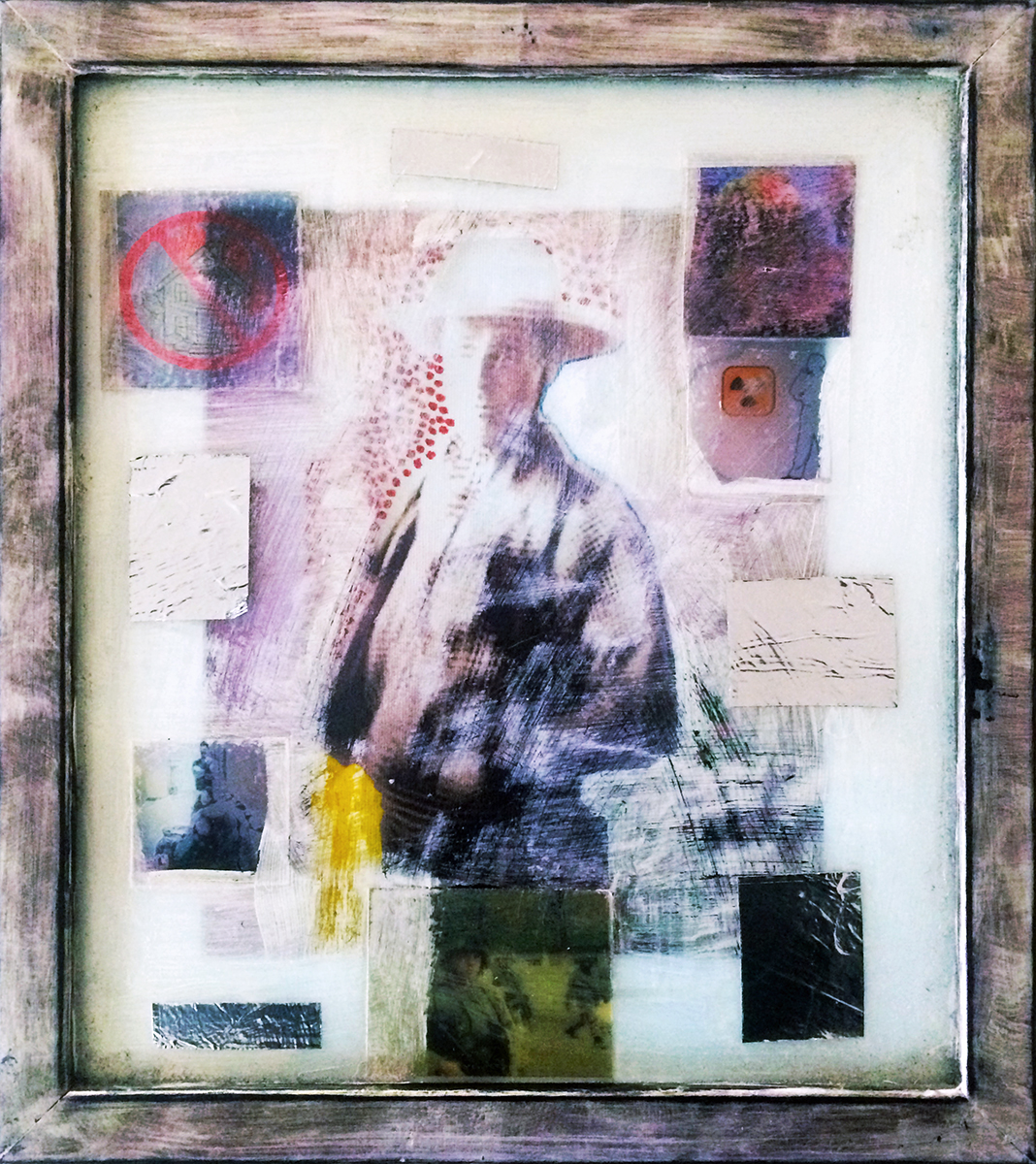 """Cowboy [3/4 Pose 2 Gun Hart]"" Mixed Media (Painted Frame with Silver Tape and Adhesive Prints) 13.5"" x 11.5"" 1997-2006 $950  One of the original COWBOYZ + COWGIRLZ ""2 Gun Hart"" series first exhibited at Four Crows Gallery, later at Dreamworks SKG (Nashville). Additional layers and materials added for ""A Prayer for Clean Water"" cycle of exhibits in Austin. This piece was installed at Pump Project for ""Overflow Show."""