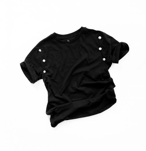 DIY Silver Button T-Shirt