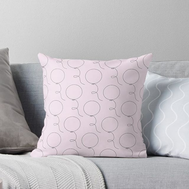Pink balloon throw pillow from our Elke + Blue collection at Redbubble. See link in bio for more info. #Redbubble #pillows #pillow #throwpillow #pink #balloon #balloons #party #birthday #nursery #print #pattern #design #graphicdesign #love #cute #kawaii #fun #happy #elkeandblue #style #homeaccessories #interiors #rooms #room #apartment #dorm #decor #homedecor #pastel