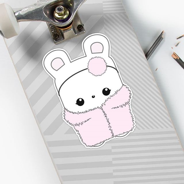 Esme mascot (in pink fluffy coat!) sticker from our Elke + Blue collection at Redbubble. See link in bio for more info. #Redbubble #selfie #sticker #stickers #ootd #skateboard #skate #skating #kawaii #bunny #rabbit #cute #happy #pink #character #illustration #fauxfur #coat #fashion #style #fluffy #bunnies #bunniesofinstagram #elkeandbluebunny #elkeandblue #art #artwork #love #rabbits #winter