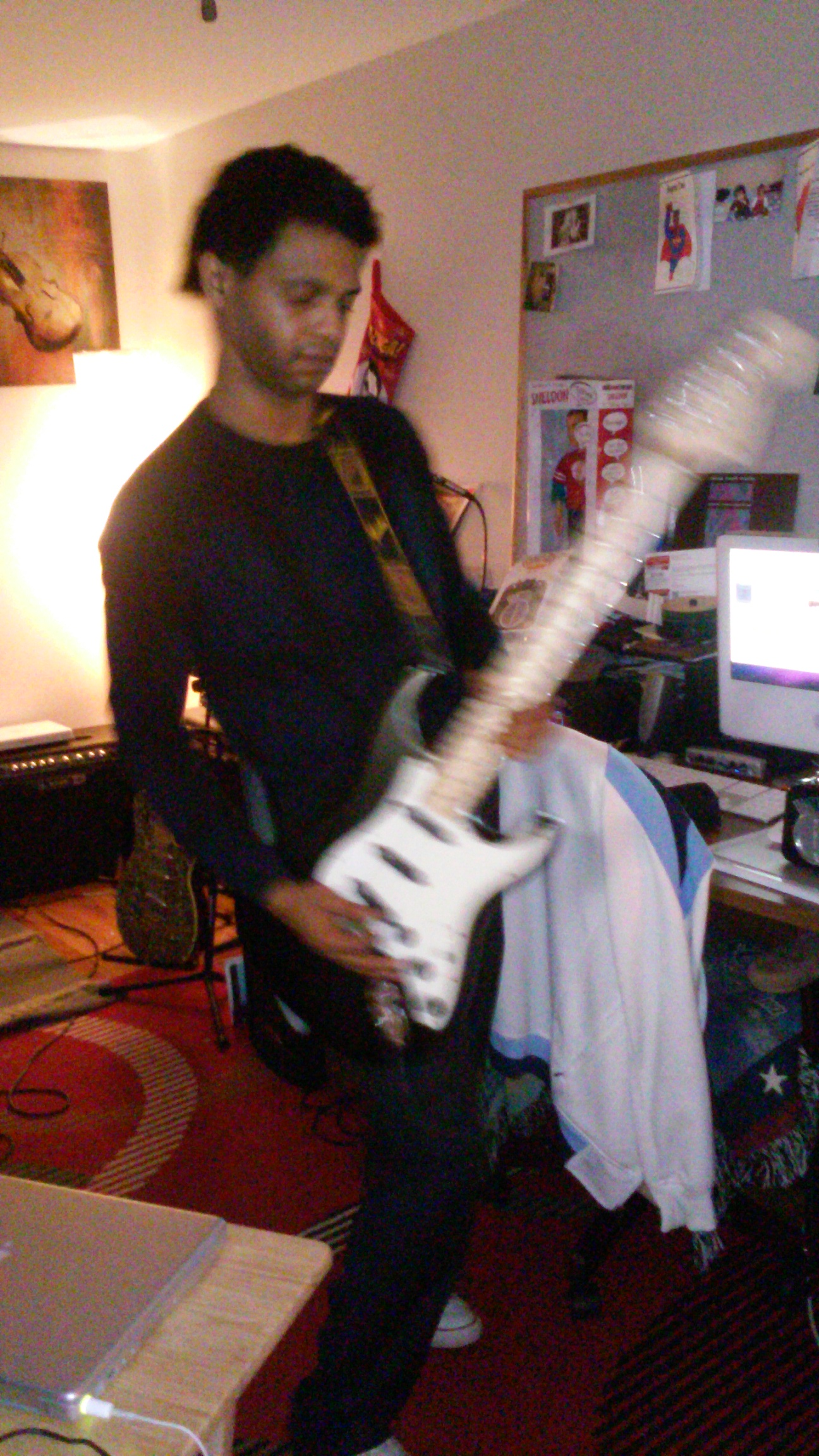 Christian recording with his Fender Billy Corgan Signature Stratocaster Made In USA