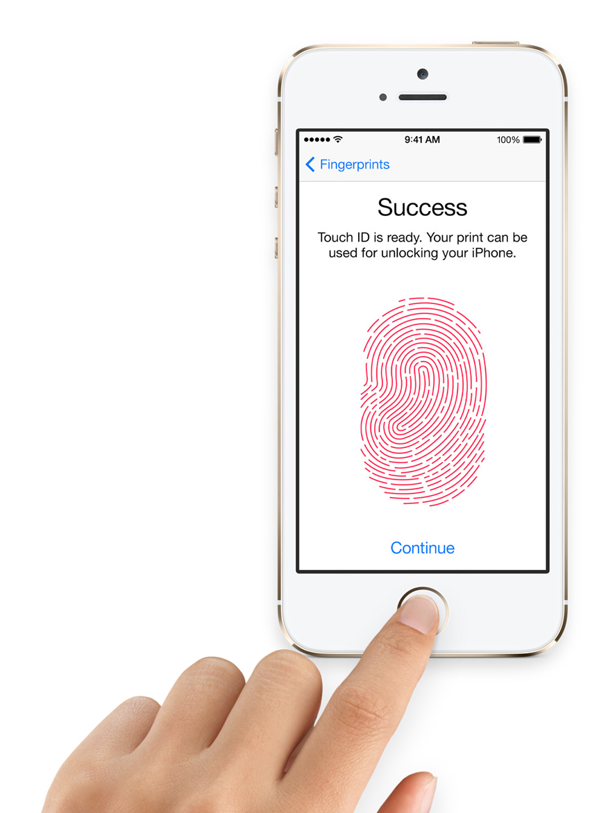 Apple's Touch ID makes passcode entry simple.