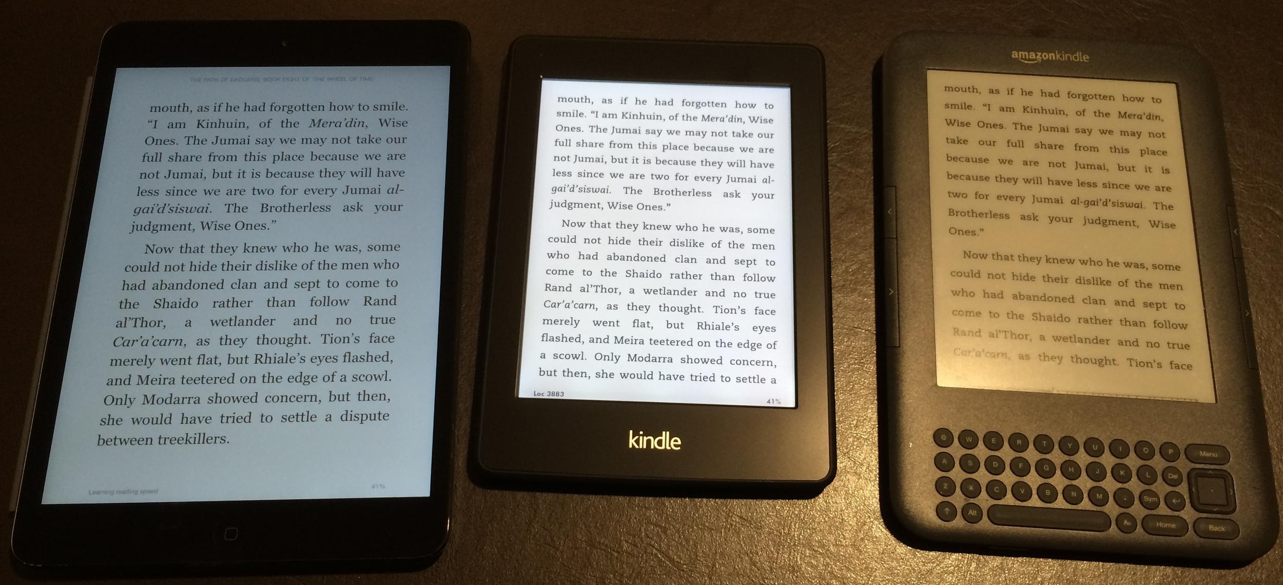 iPad mini (left), Kindle Paperwhite (center), Kindle Keyboard (right)