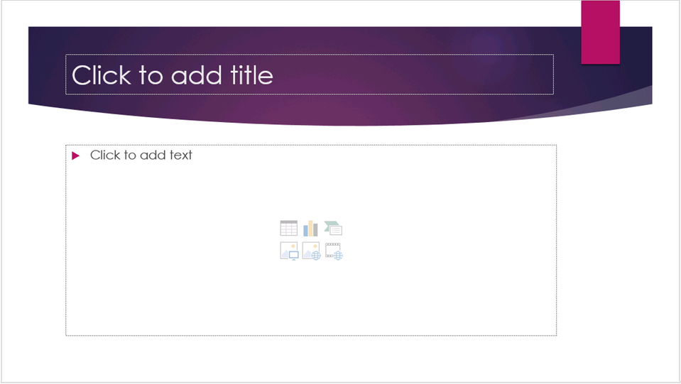 A blank PowerPoint slide with two placeholders, title and content.