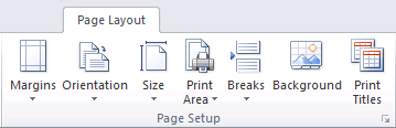 Print Layout tab in Excel 2010