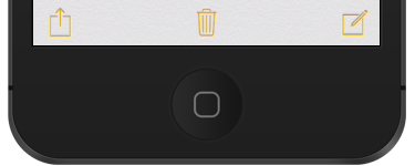 Share button (left), Delete button (center), Compose button (right)