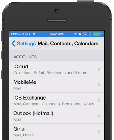 Mail, Contacts, Calendars settings