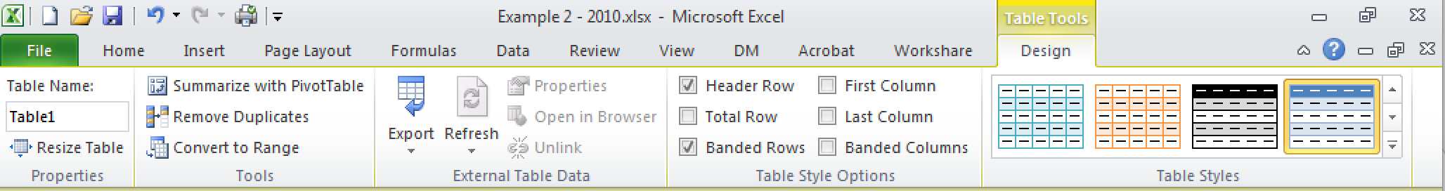 The  Design  tab, showing a table with a default name