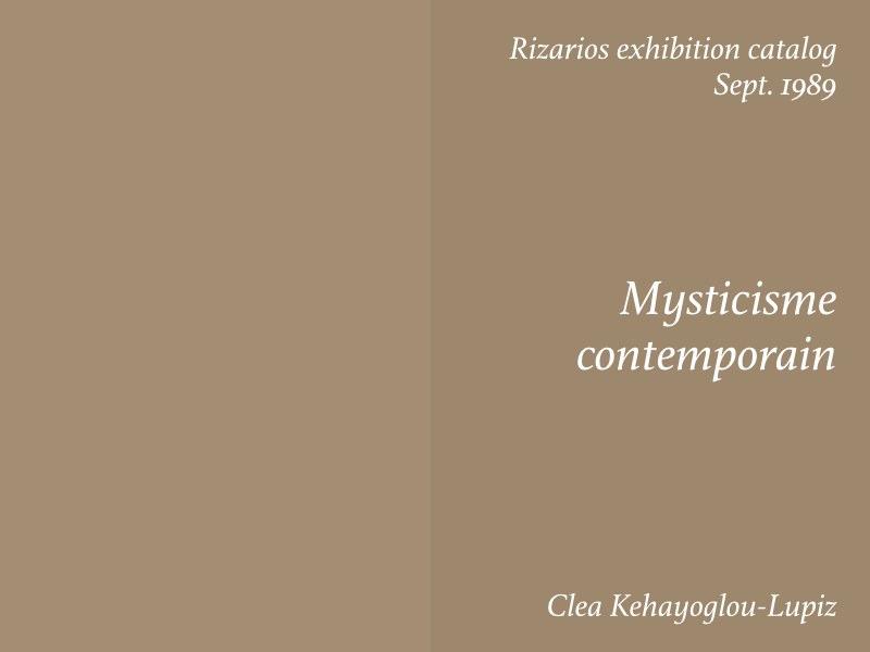 Essays — Mysticisme contemporain, Clea Kehayoglou-Lupiz
