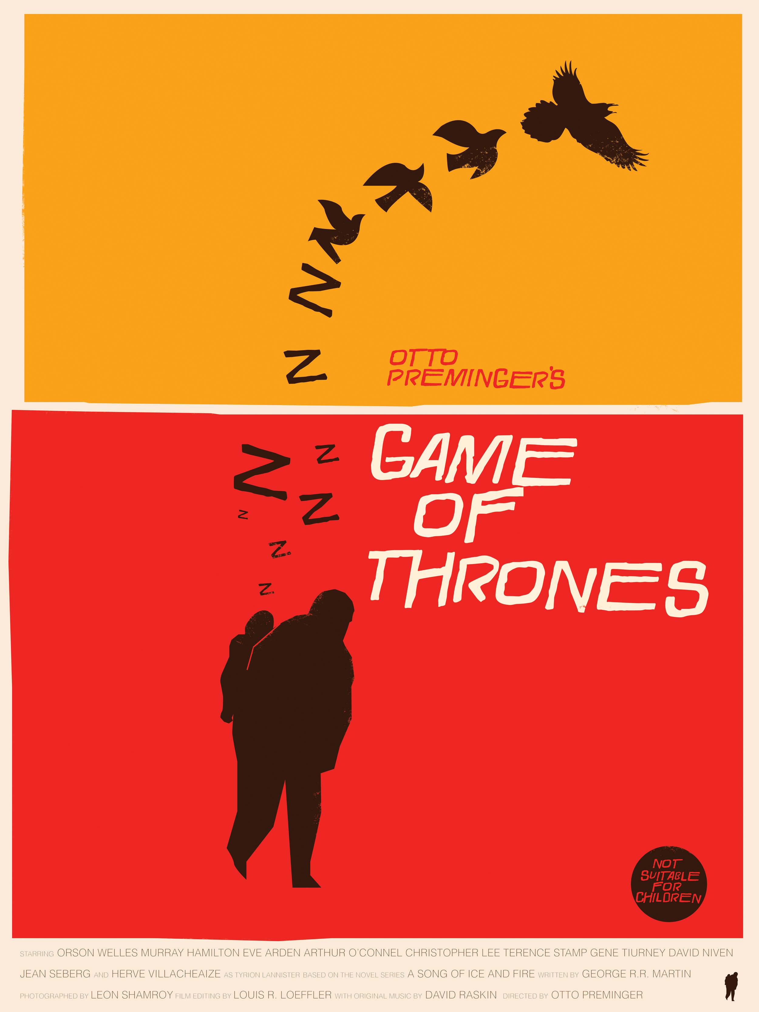 """The Little Lordof WInterfell   Saul Bass Tribute   18"""" by 24"""" Giclee Print on Archival Matter Paper   Signed & Numbered   Limited run of  only 35   $40.00"""