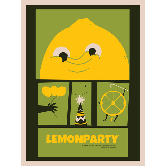 """Lemon Party     My contribution to Gallery 1988's Memes Show which opened May 4th, 2012  This one warrants a close look. If you're not familiar with the source material by all means look it up at your own risk. I'm too much of a gentleman to ever link to it here.   18"""" x 24"""" 8 Color Giclee on Enhanced Matter Archival Paper $40 Signed and numbered edition of 35"""