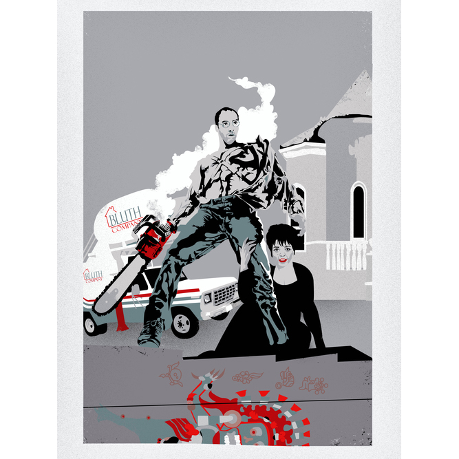 """And That's Why You Don't Use One-Armed Persons To Teach Lessons     This one's for Gallery 1988's show """"There's always money in the banana stand""""  A tribute to Arrested Development which opened June 29th 2012.  8 color Giclee on enhanced matte archival paper 18"""" x 24""""signed and numbered edition of 100  $50"""