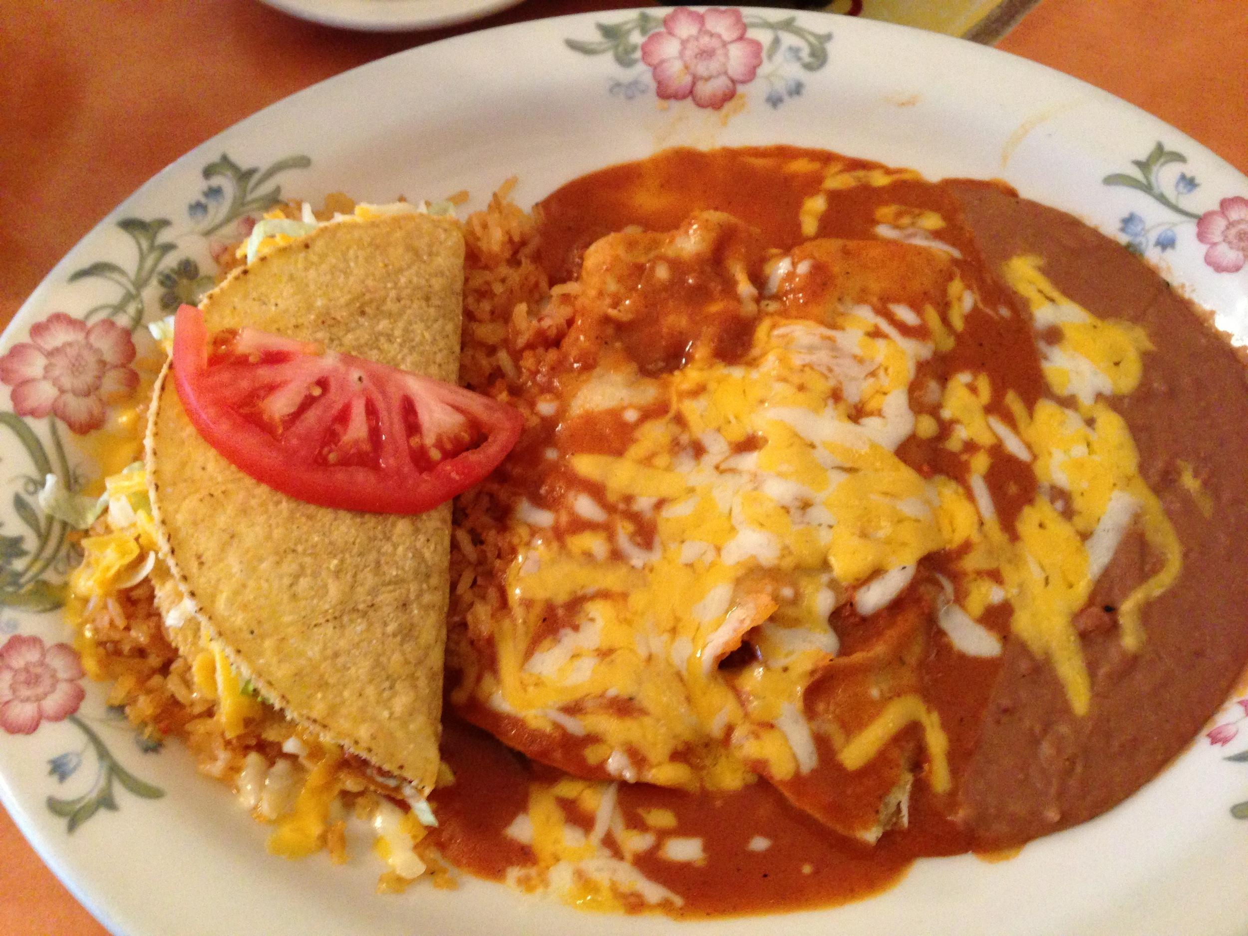 Combination Dinner - Enchiladas with a Taco