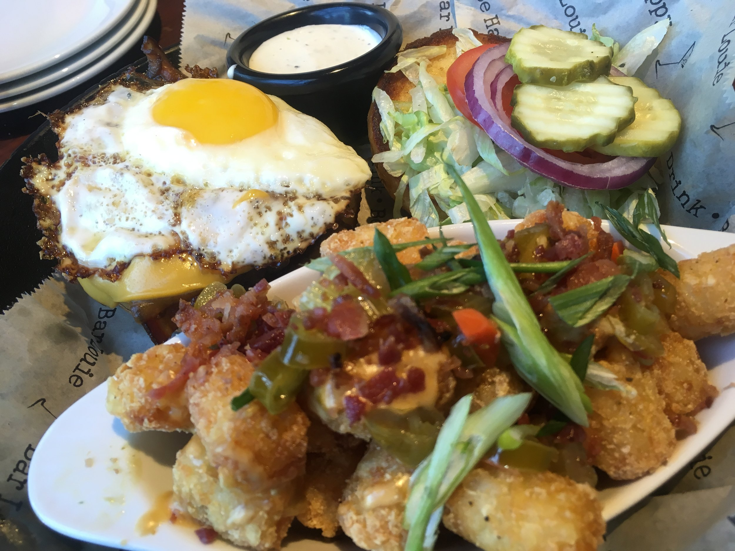 Fried Louie with loaded Tater Tots