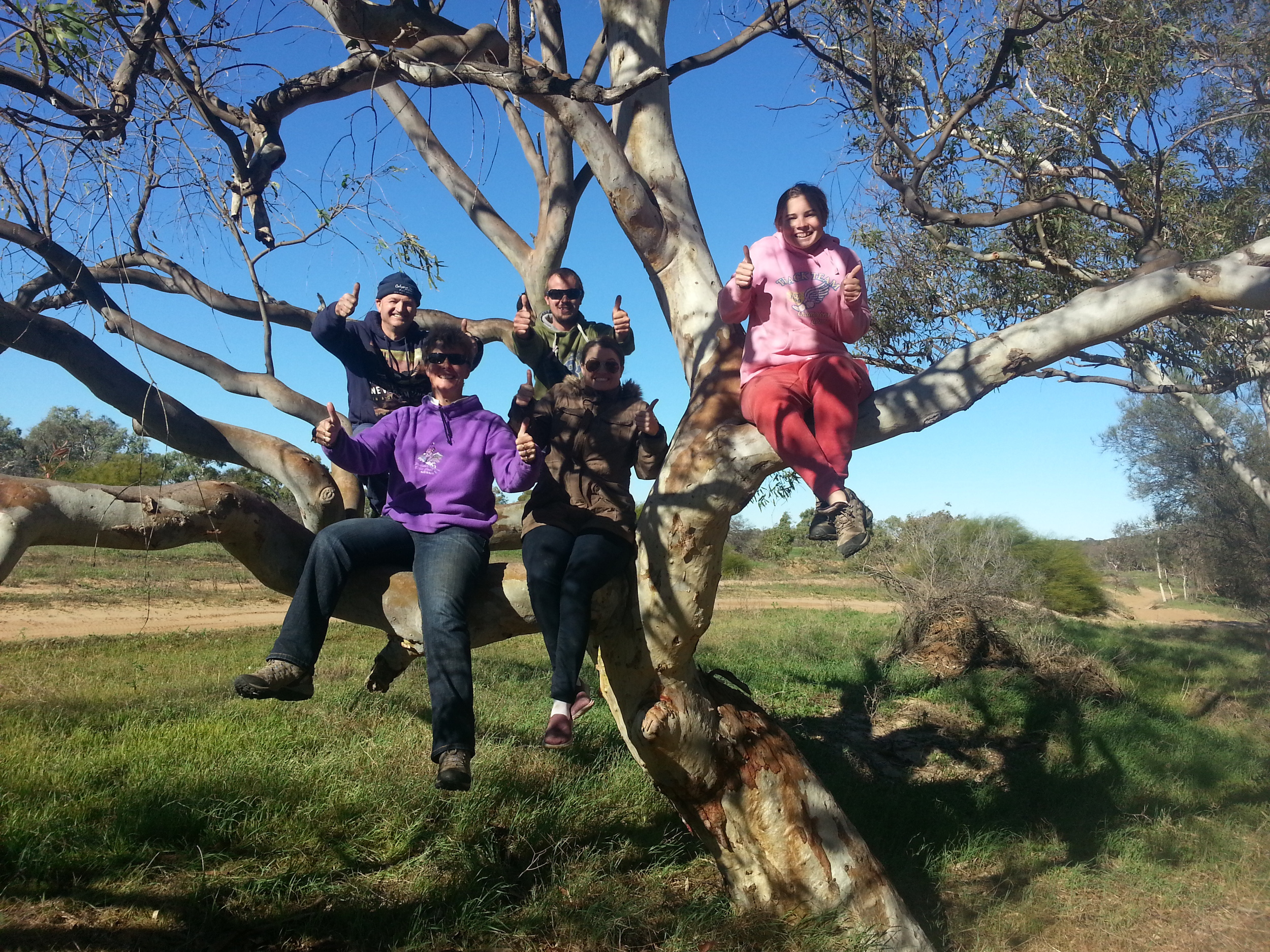 The Robins family from NSW getting close to nature on the Murchison River Reserve, June 2014.