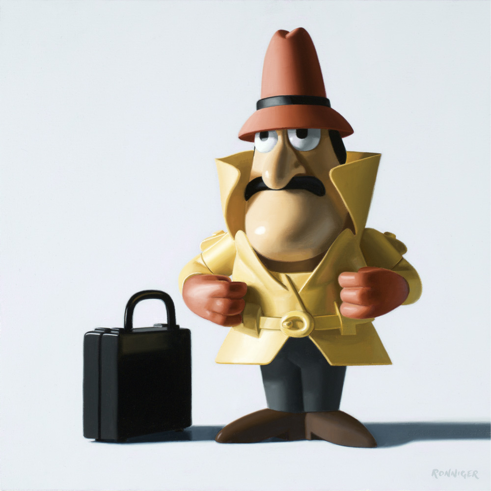 "Inspector Clouseau, oil on linen, 12"" x 12"""