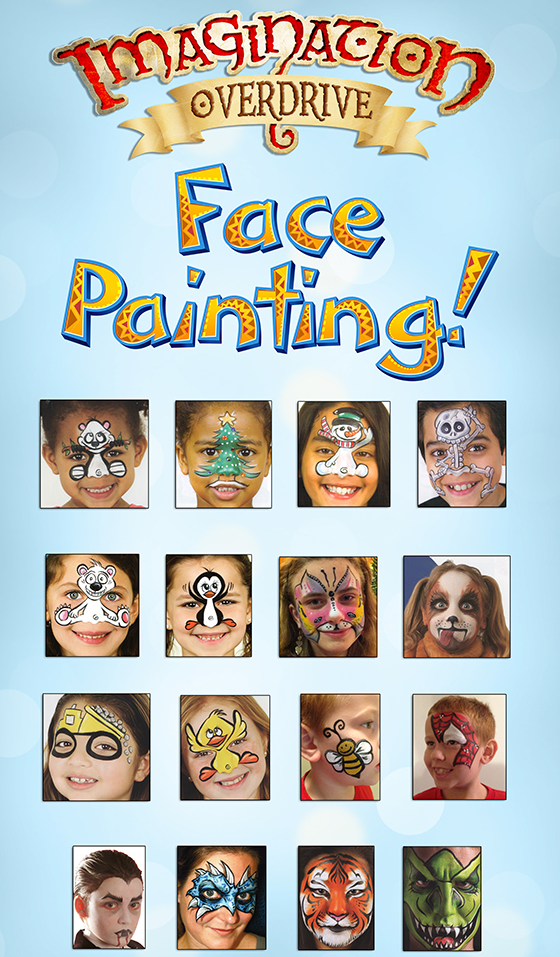 Face Painting banner menu used at events.