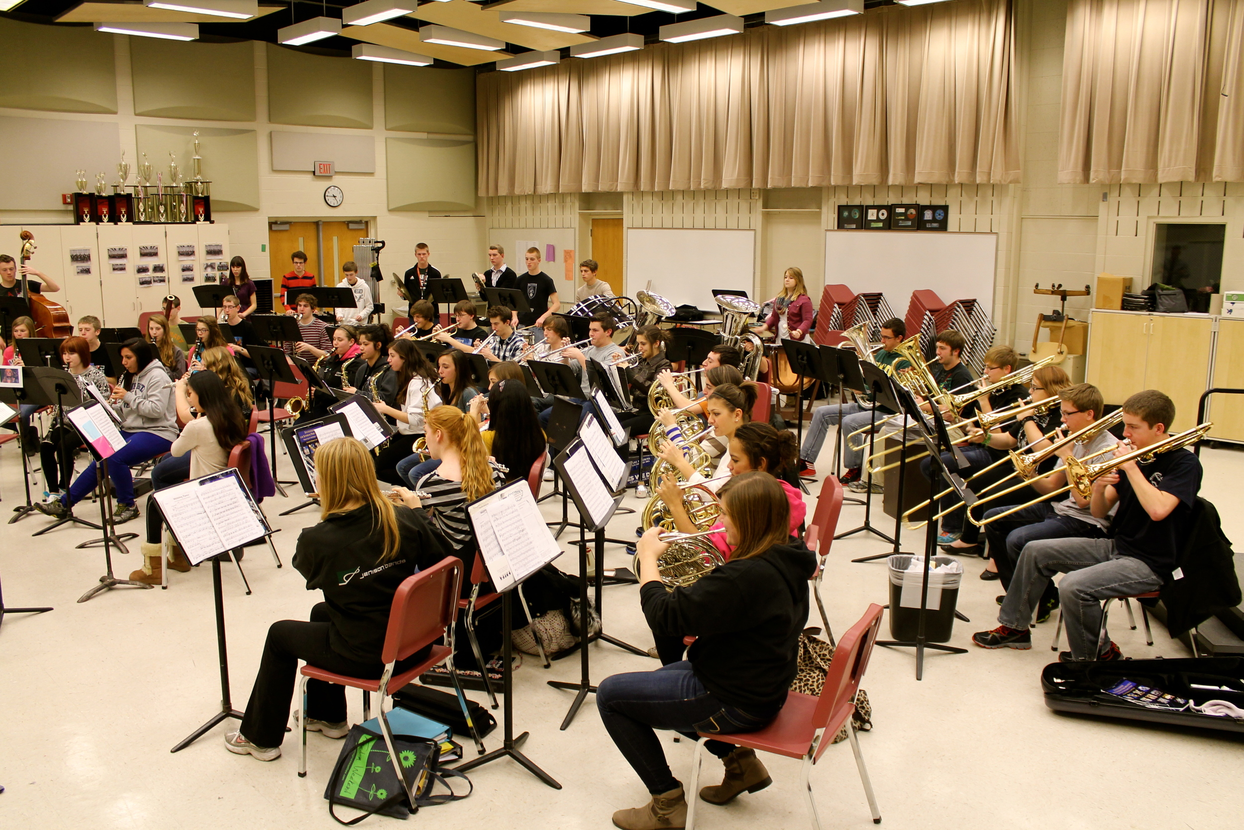 The Jenison Wind Symphony rehearses in preparation for their 2013 MMC performance