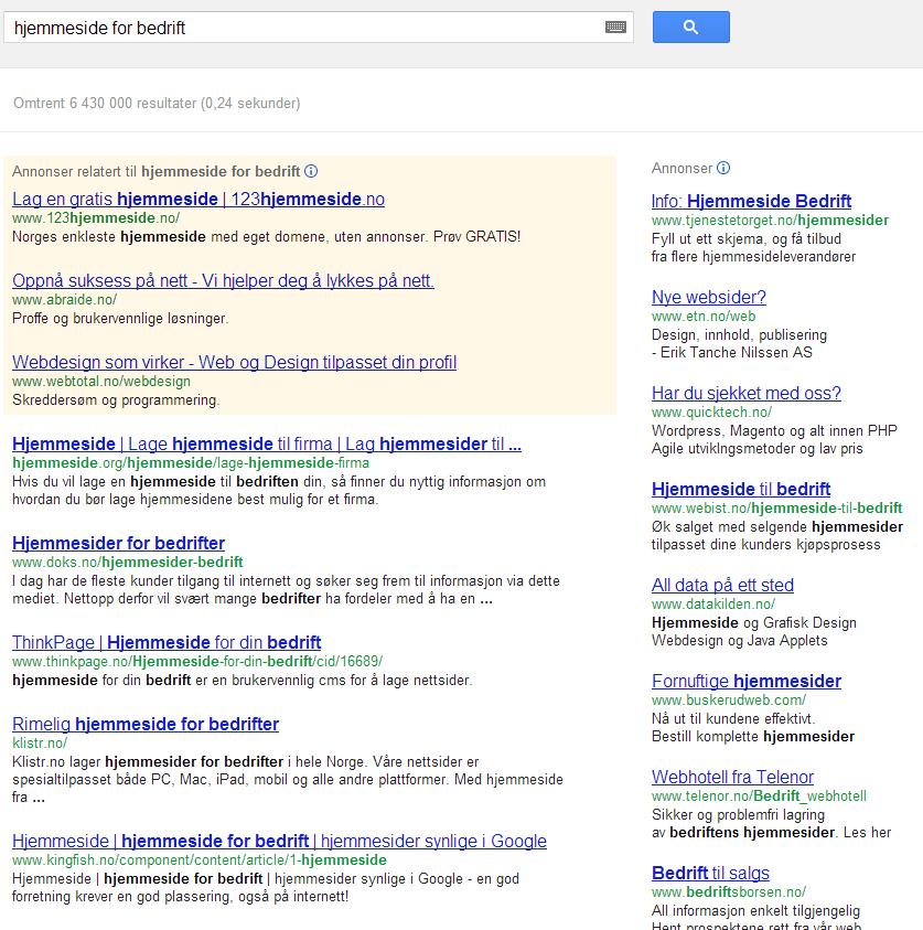 """Søk på """"hjemmeside for bedrift"""" på google.no gir mye data!"""