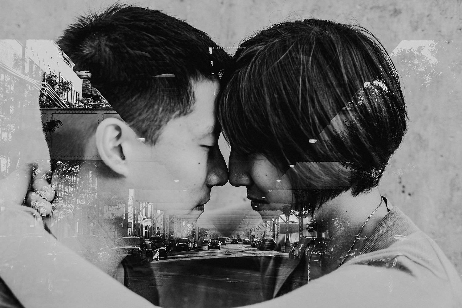 chicago engagement double exposure
