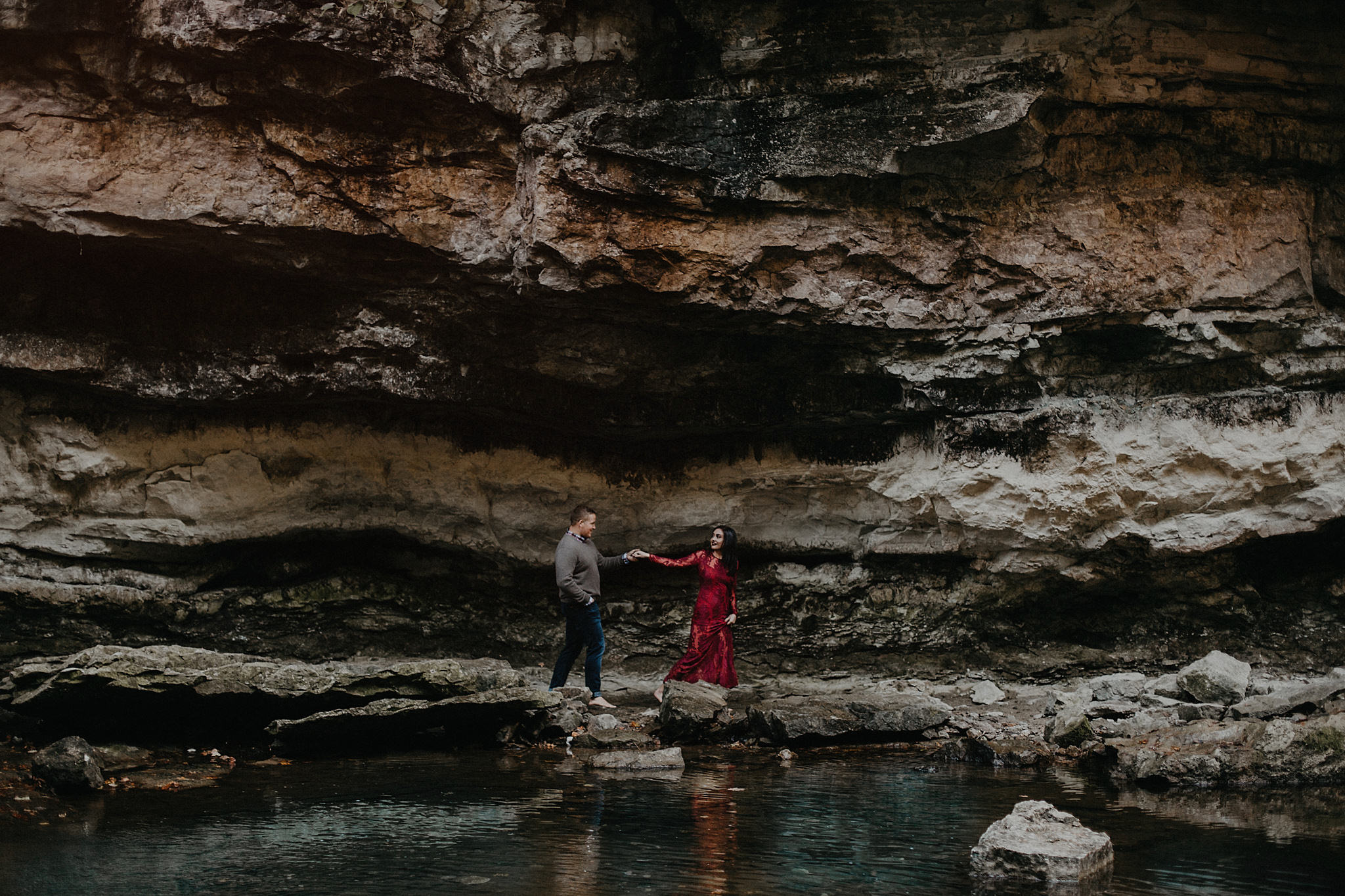 indiana waterfall engagement