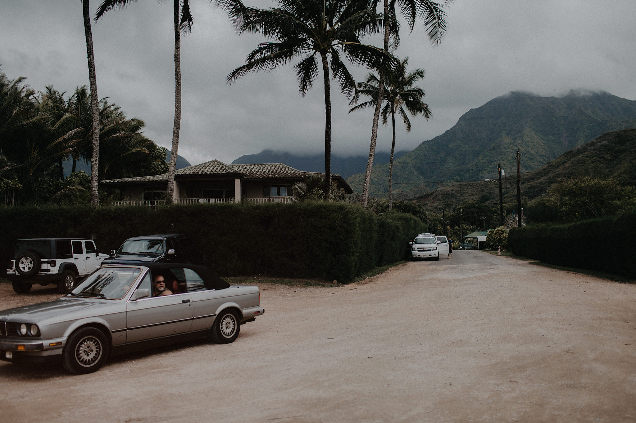 hawaii elopement dirt road palm trees photo